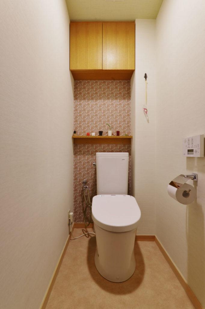 和風トイレ リフォーム施工事例 壁紙